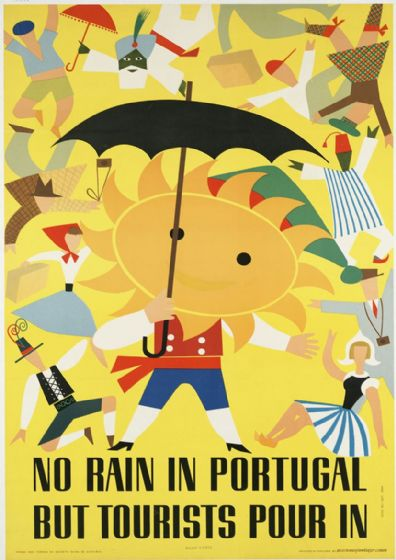 No Rain in Portugal But Tourists Pour In. Vintage Travel Art Print/Poster. Sizes: A4/A3/A2/A1 (003446)